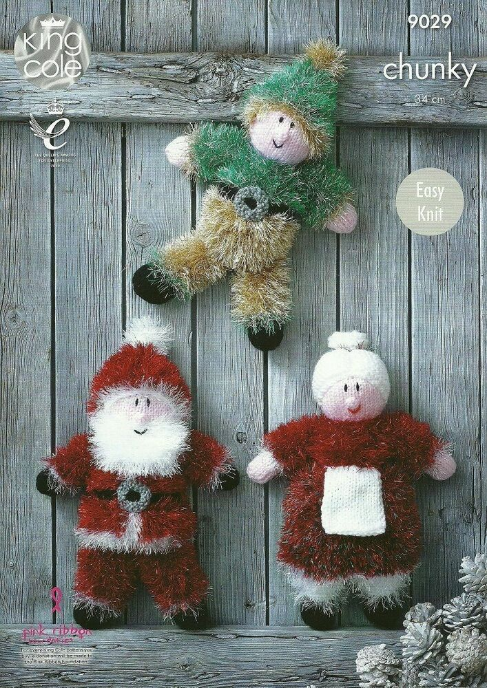 Knitting Patterns For King Cole Tinsel : King Cole Tinsel Chunky Patterns Father Christmas Snowmen Baubles Xmas Trees ...
