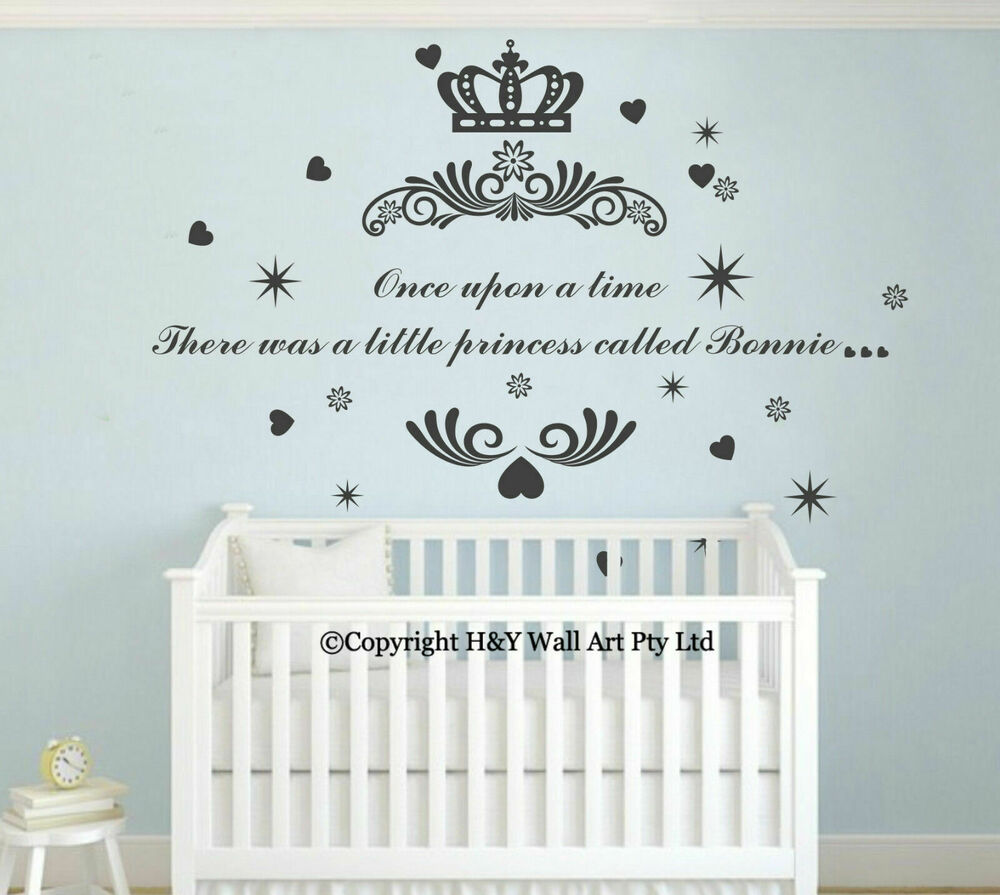 Name Wall Decals For Nursery Tags: Princess Crown Custom Personalised Name Wall Art Stickers