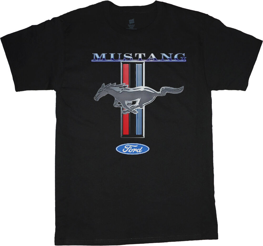 men 39 s ford mustang t shirt mustang pony tri bar design tee ford mustang shirt ebay. Black Bedroom Furniture Sets. Home Design Ideas