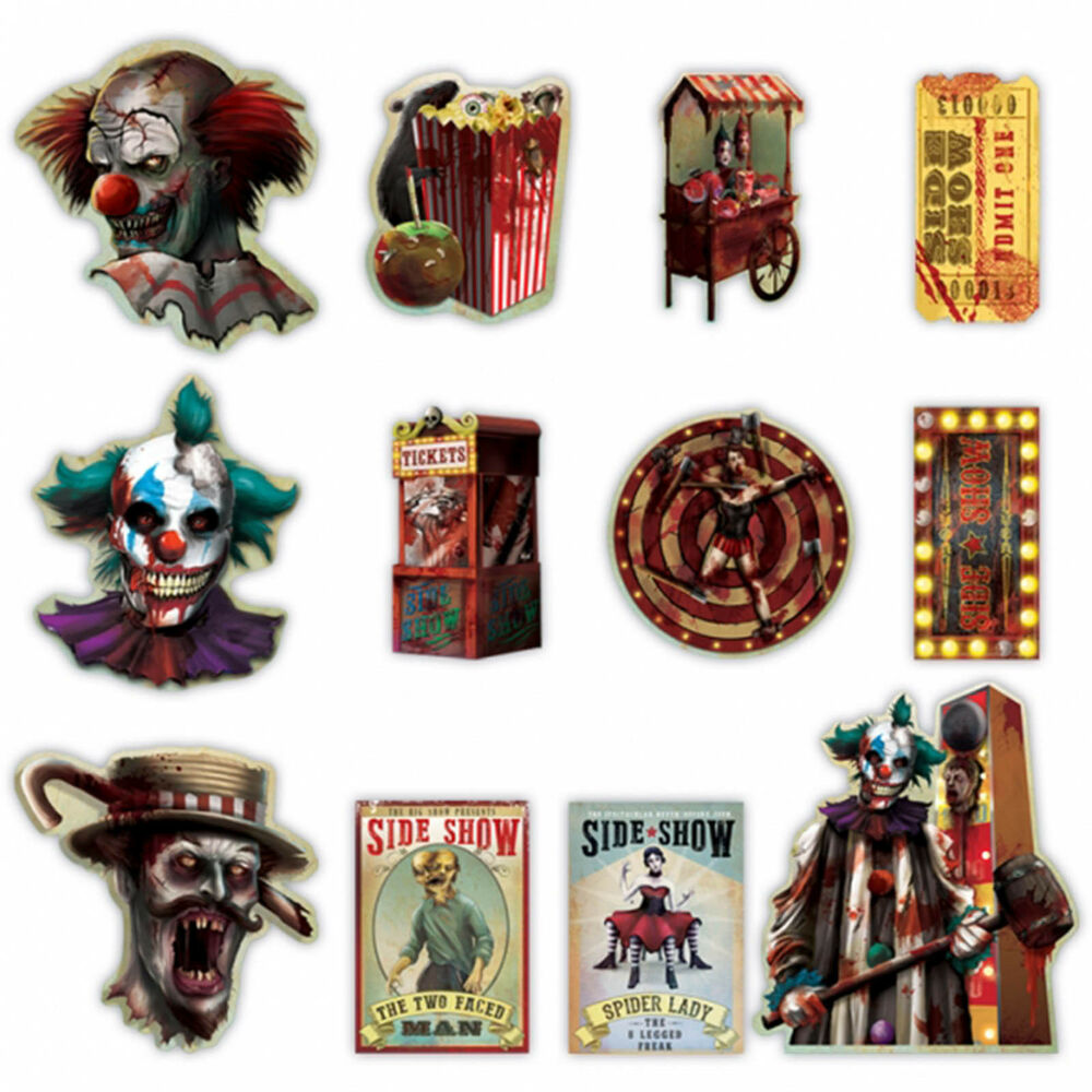 12 Halloween CREEPY CARNIVAL Circus Party Sinister SIDE