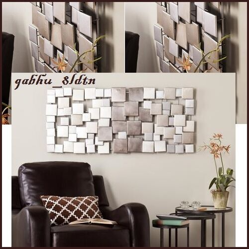 Contemporary Silver Wall Decor : Huge metal abstract modern silver wall art sculpture ombre