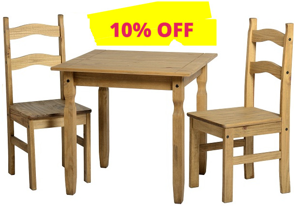 CORONA Rio Small Mexican PINE Dining Table And 2 Chairs