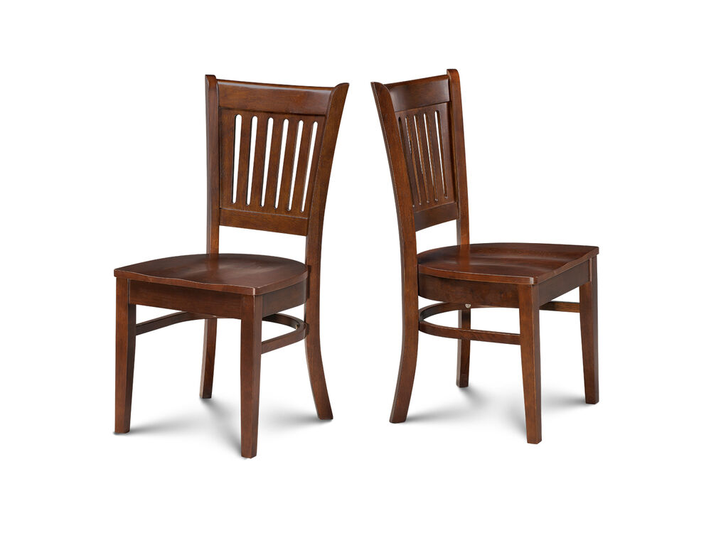 Set of 2 dinette kitchen dining chairs with wooden seats for Kitchen dinette sets
