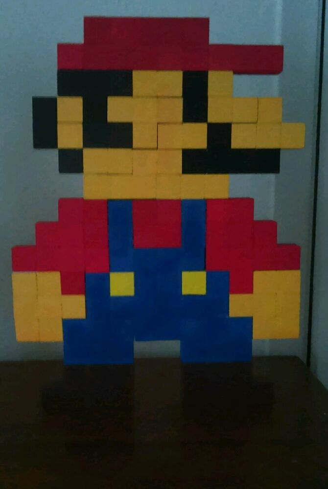 8 bit mario wall art handmade wooden cubes hangable wall