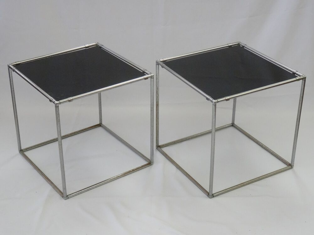 Black Glass Side Table: PAIR Of CHIC 70's POUL KJAERHOLM STYLE BLACK GLASS TOP