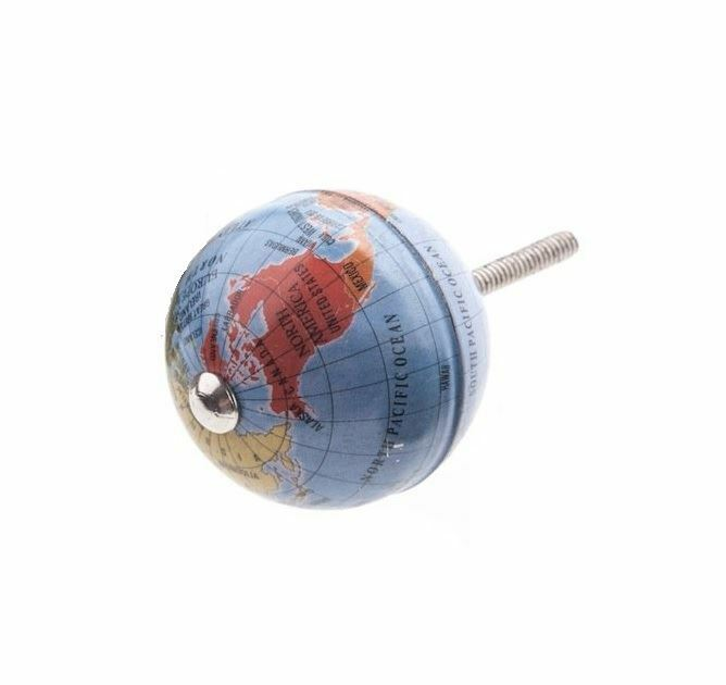 Gisela Graham Atlas Globe World Map Retro Earth Door Knob