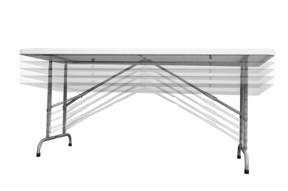 6ft Rectangular Plastic Top Table With Height Adjustable