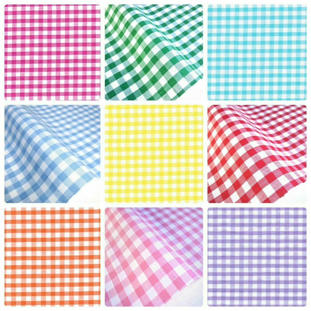 Gingham polycotton fabric 1 4 checked material 112cm 44 for Gingham fabric