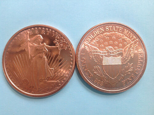 Walking Liberty Copper Coin 1 Oz St Gaudens Dbl Eagle 999 Fine Copper Bullion Ebay