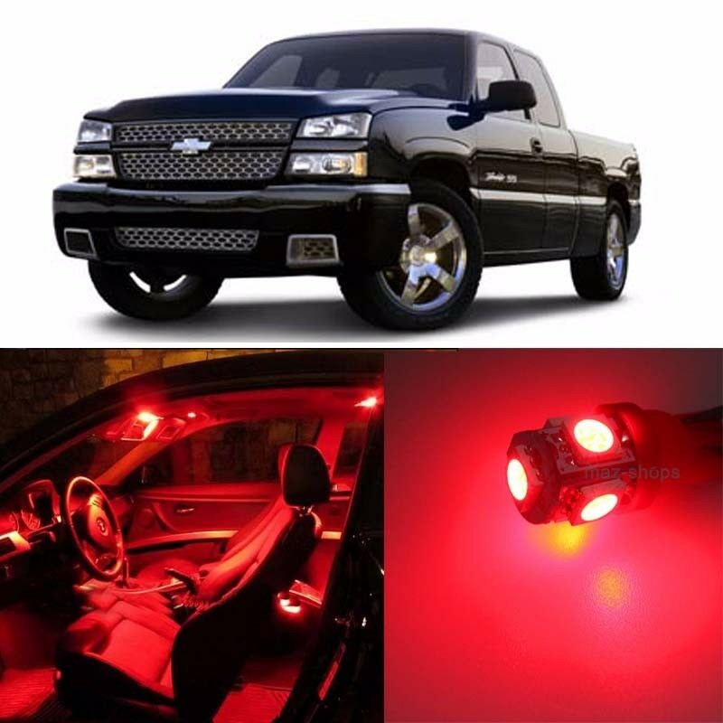 red 16 pcs led lights interior package kit for 1999 2006 chevy silverado ebay