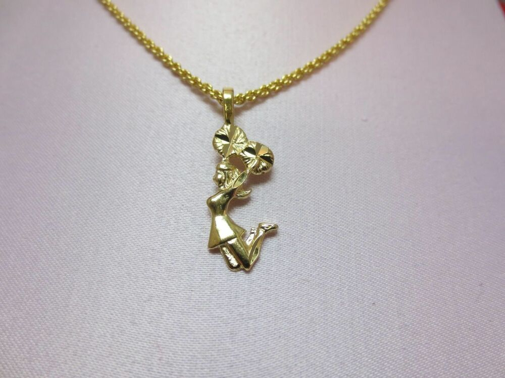 14 Kt Gold Plated Cheerleader Charm Amp 20 Inch Rope Chain