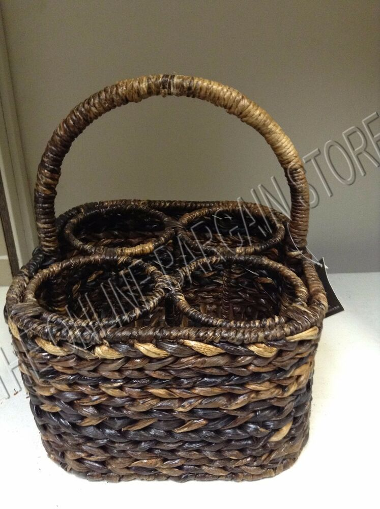 Pottery Barn Havana Woven Seagrass Wine Bottle Carrier