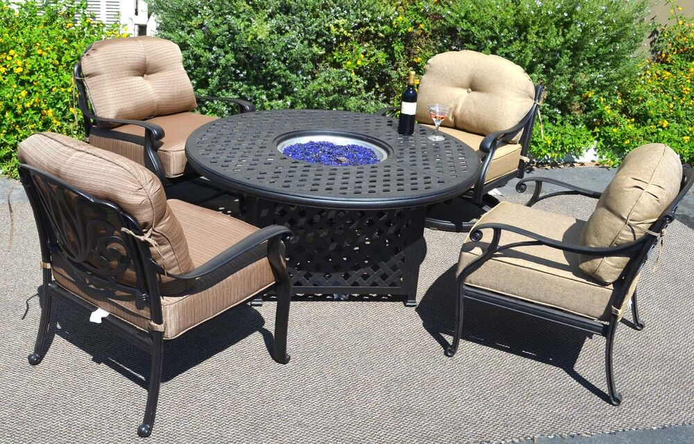 Fire pit table set elisabeth propane 5pc patio furniture for Patio furniture table set
