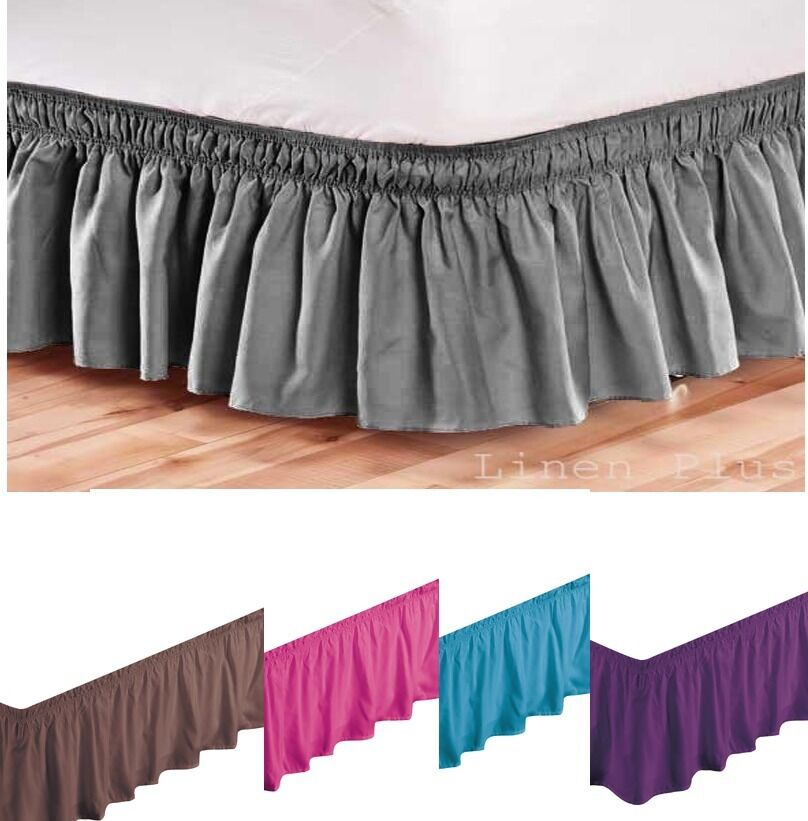 elastic bed skirt dust ruffle easy fit black queen king full twin size colors ebay. Black Bedroom Furniture Sets. Home Design Ideas