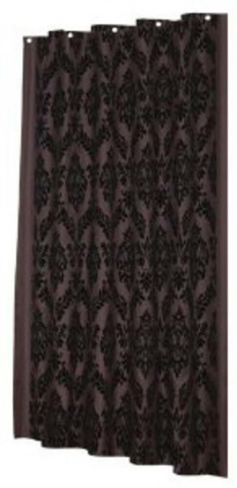 Regal 100 Polyester Fabric Shower Curtain W Flocking Color Blac