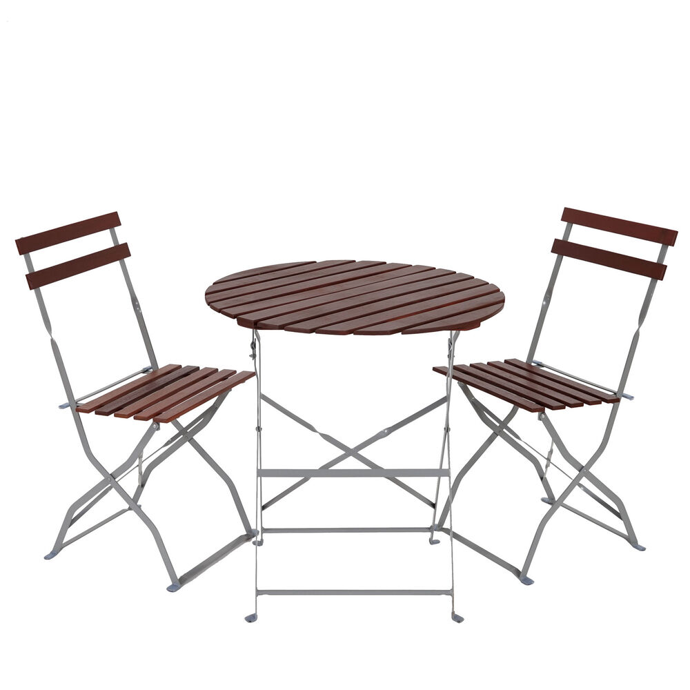 biergarten garnitur meran bistro set tisch st hle akazie ge lt dunkelbraun ebay. Black Bedroom Furniture Sets. Home Design Ideas