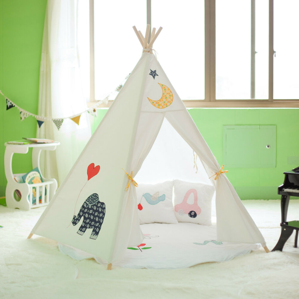 1000 Ideas About Girls Teepee On Pinterest: Large Cotton Canvas Kids Boys Girls Cute Elephant Teepee Outdoor Tent