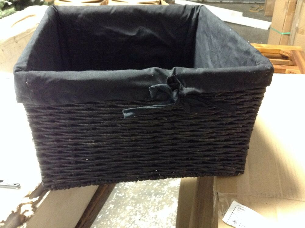 1 Jute Seagrass Woven Storage Home Decor Square Basket Liner Black Large Ebay
