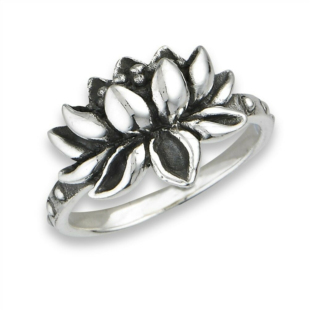 sterling silver eye catching lotus flower ring size 5 9 ebay