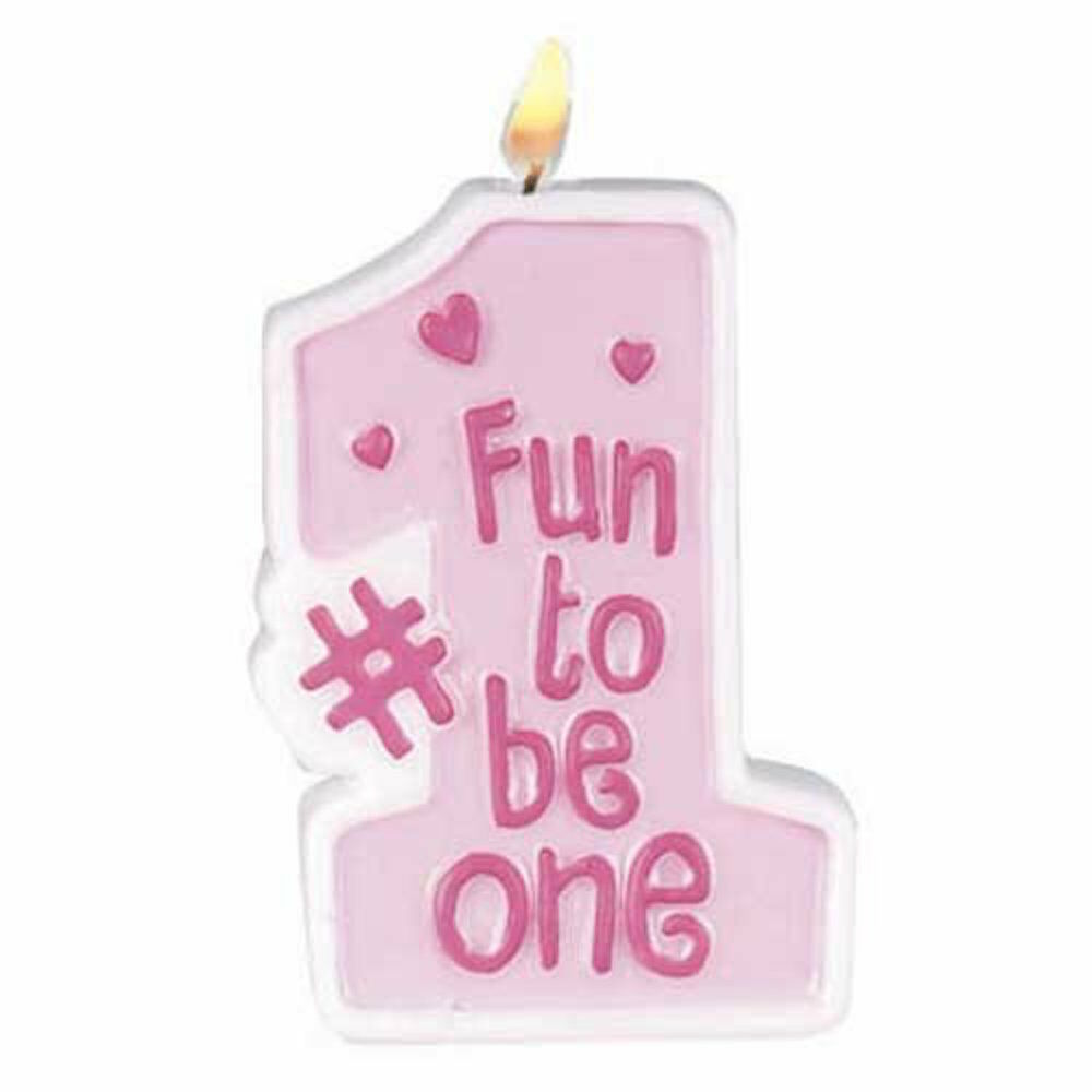 Fun to be one 1st birthday girl candle 1pc cake topper for Decoration stuff