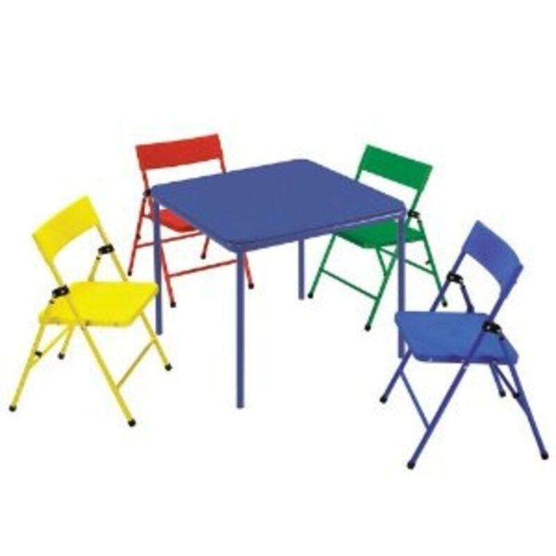 Cosco Kids 5 Piece Folding Chair Table Set RYB Table