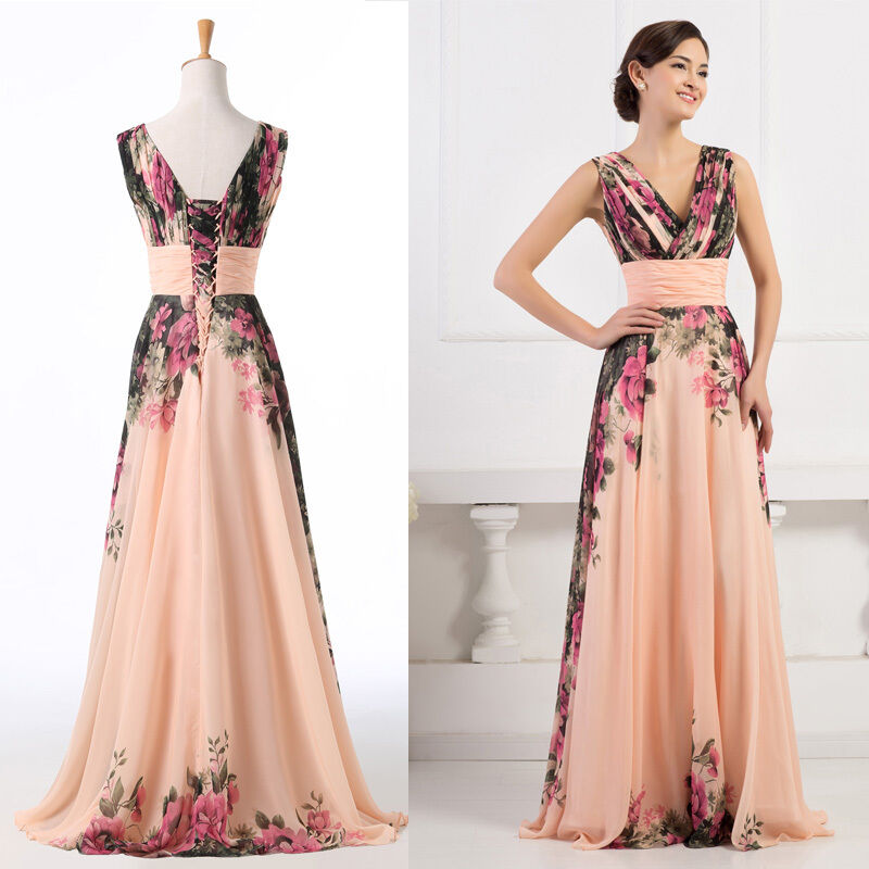 Floral 50s Long Chiffon Mother Of The Bride Groom Dress