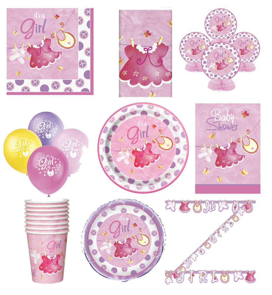 Pink baby shower party tableware decorations supplies for Baby birthday decoration items
