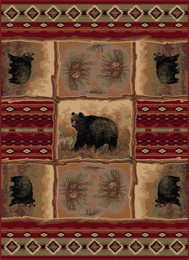 Red nature print rustic primitive area rug 8x10 carpet for 10x10 area rug