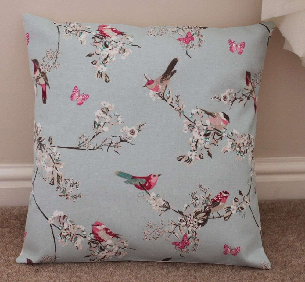 beautiful birds cushion cover 16 x 16 handmade duck egg. Black Bedroom Furniture Sets. Home Design Ideas
