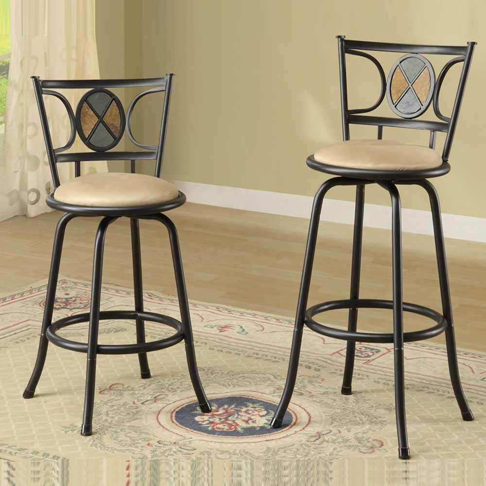 set of 2 bar pub counter height barstools swivel adjustable height stools metal ebay. Black Bedroom Furniture Sets. Home Design Ideas