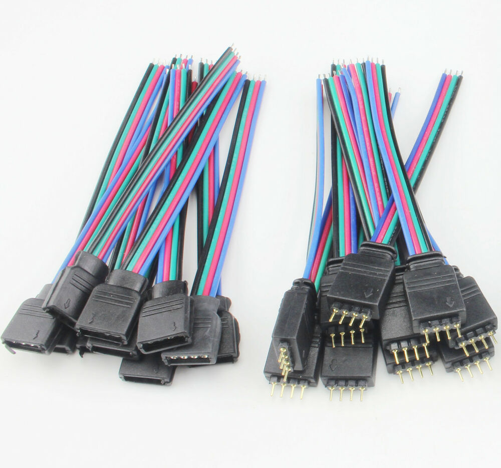 4pin 10cm Female Rgb Connectors Wire Cable For 5050 3528