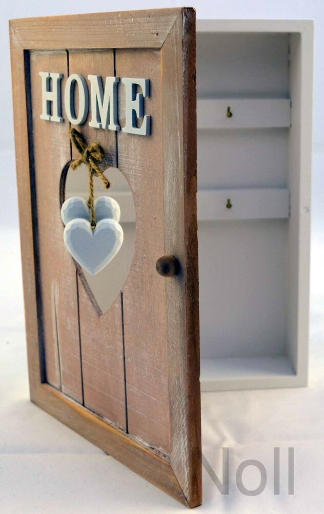 schl sselkasten schl sselbrett neu holz box landhaus glas keys 6 haken 27 cm ebay. Black Bedroom Furniture Sets. Home Design Ideas