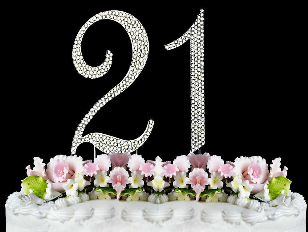 New Large Rhinestone Number 21 Cake Topper 21th Birthday