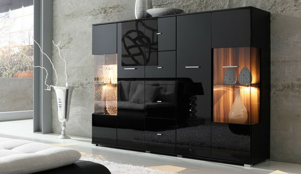 highboard sideboard hochglanz schwarz lack 17697 ebay. Black Bedroom Furniture Sets. Home Design Ideas