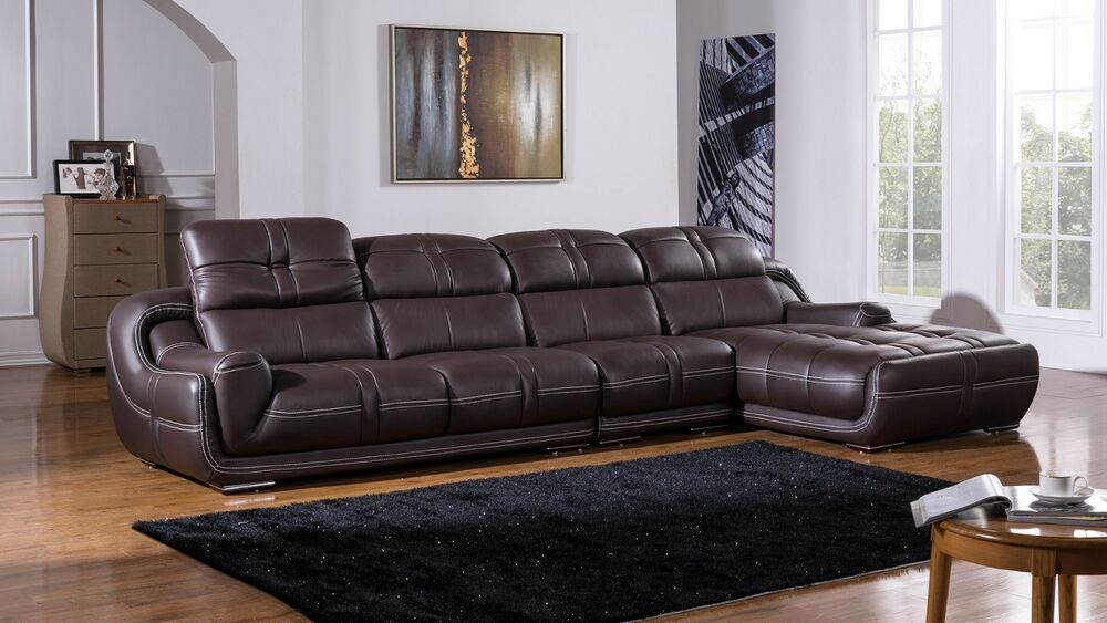 Modern contemporary dark brown genuine leather sectional for Brown leather sectional with chaise