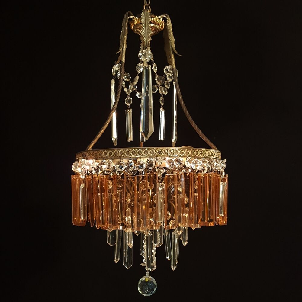 Crystal Chandeliers Ceiling Lights : Vintage crystal chandelier old ceiling lamp brass lustre