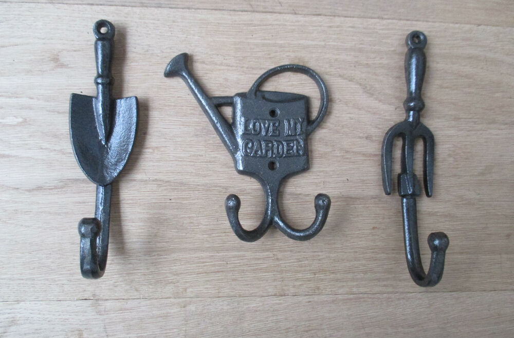 Cast iron decorative garden shed utility hanging hook gift for Garden shed hooks