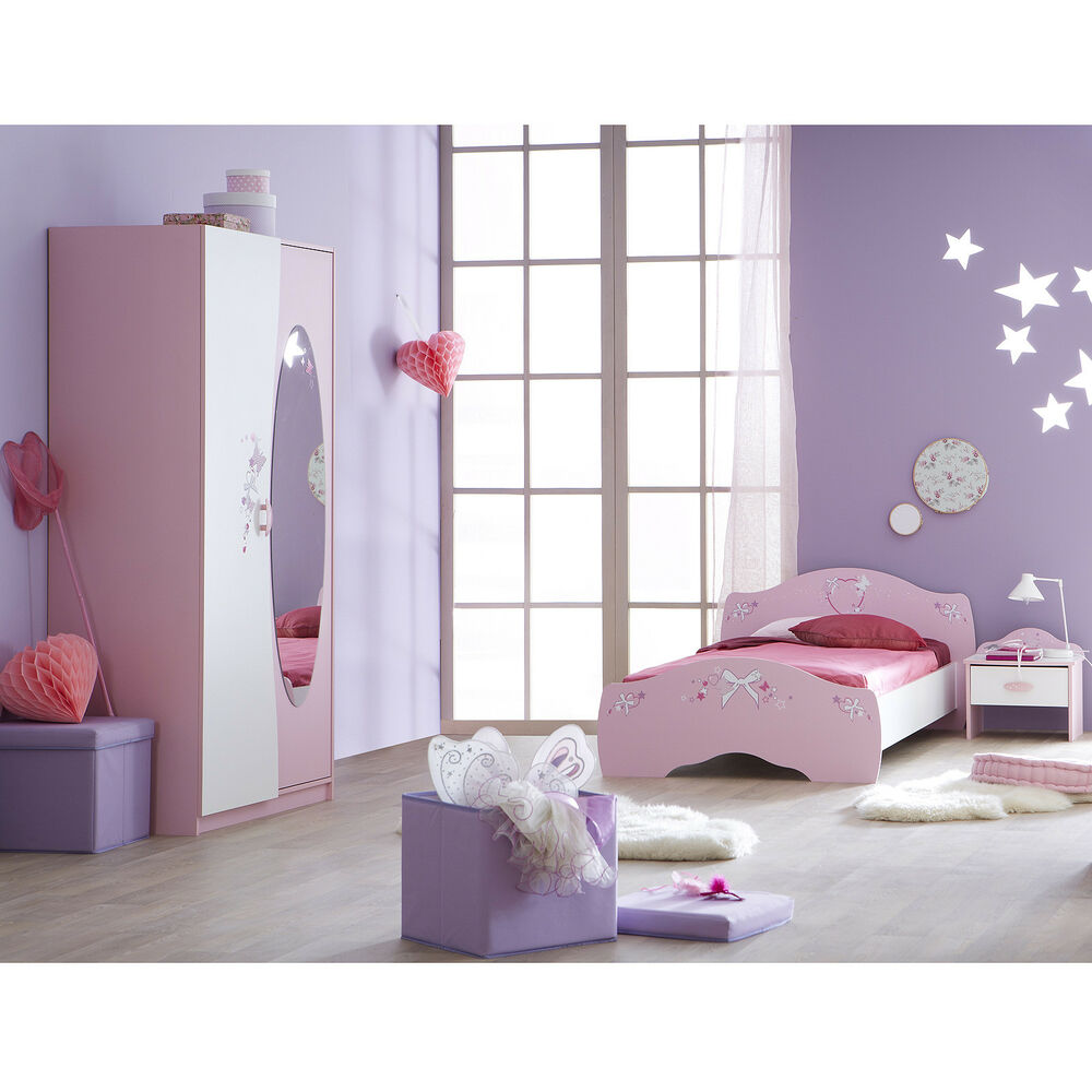 kinderzimmerset 3 tlg papillon kinderzimmer in orchidee rosa wei mit spiegel ebay. Black Bedroom Furniture Sets. Home Design Ideas