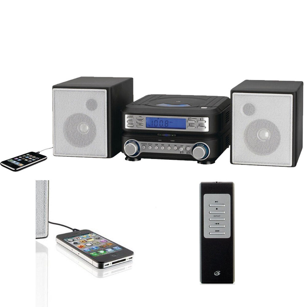compact cd player stereo system remote mp3 am fm home living room music iphone ebay. Black Bedroom Furniture Sets. Home Design Ideas