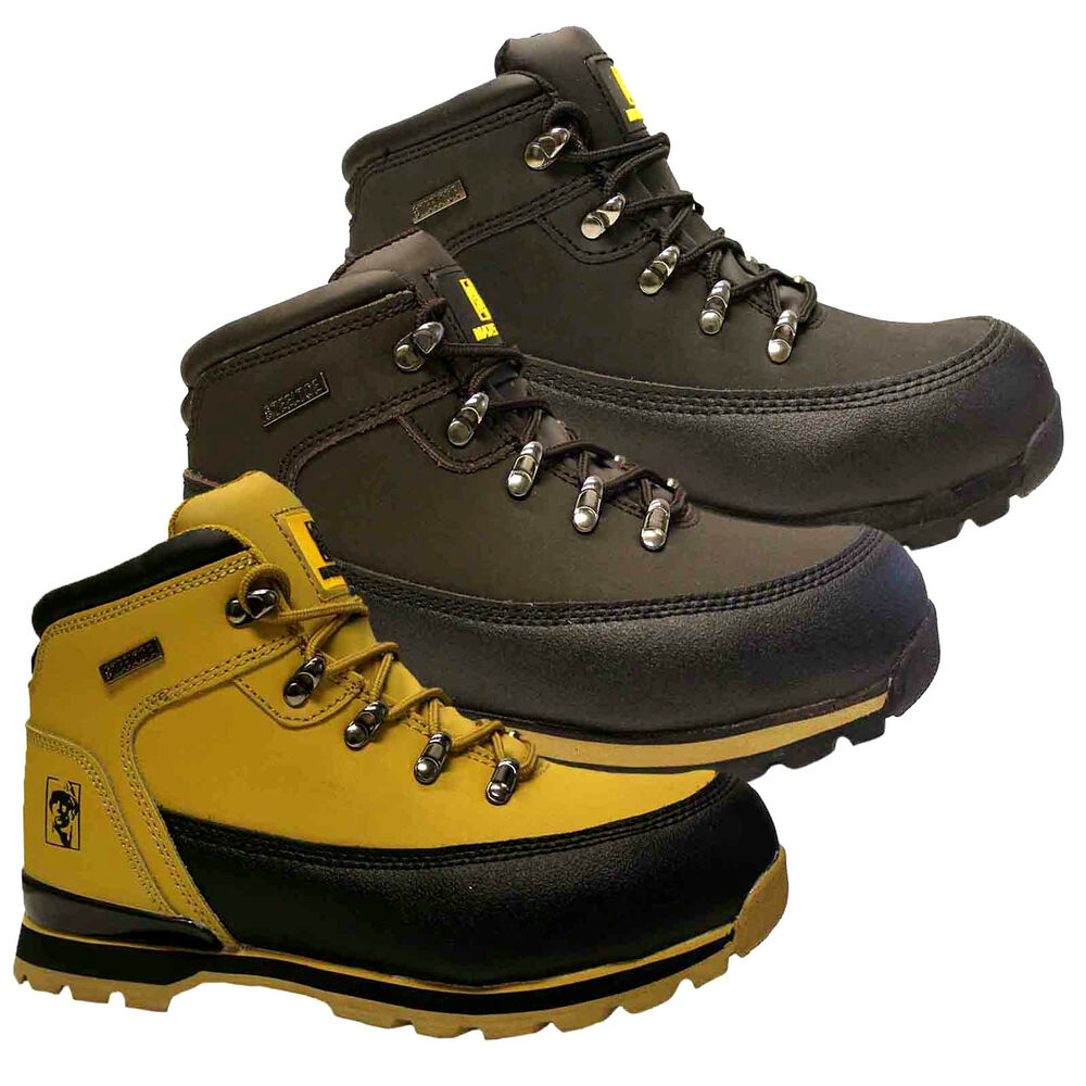 Mens Leather Safety Scuff Cap Work Boots Steel Toe Cap
