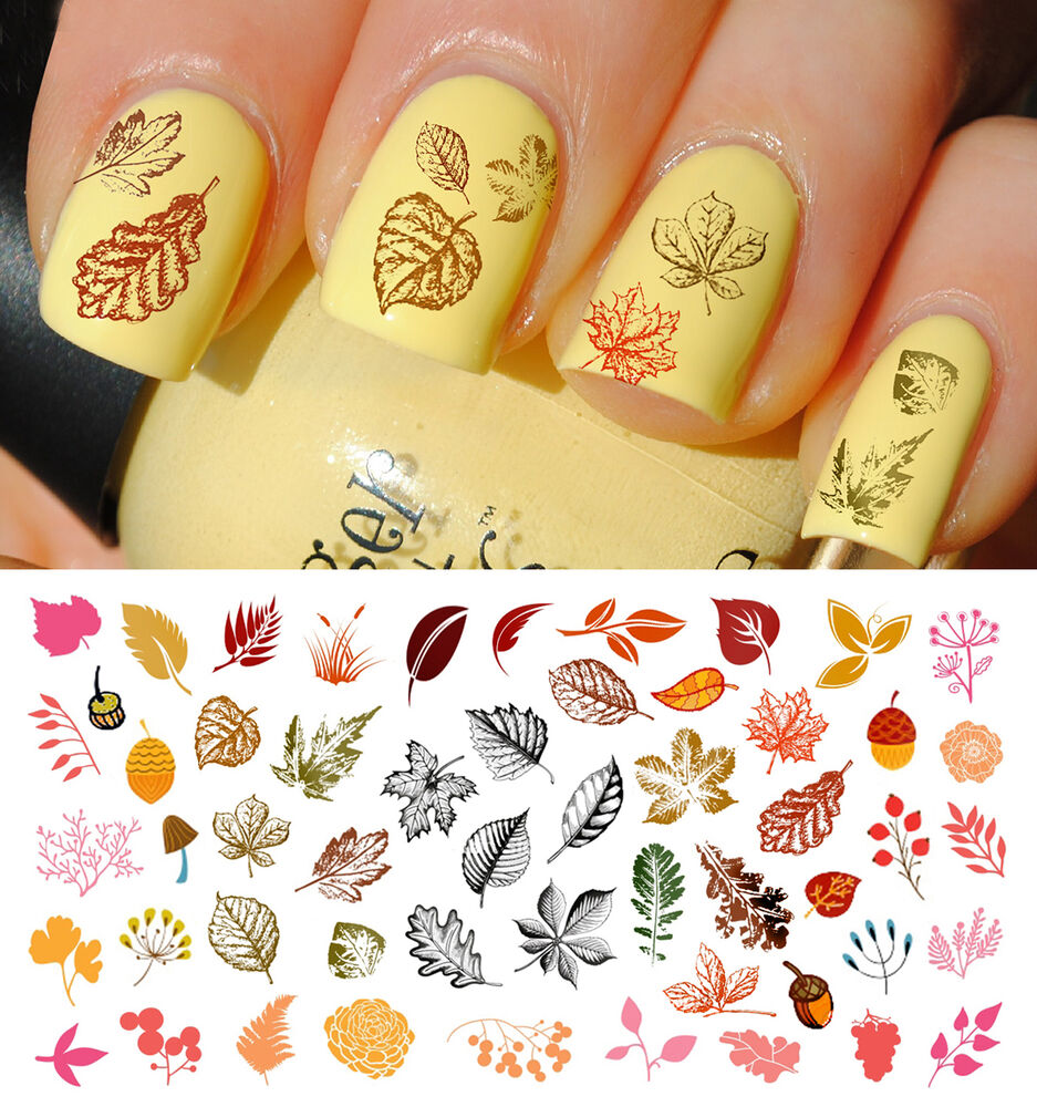 Nail Art Stickers: Fall Leaves Nail Art Waterslide Decals Set #3
