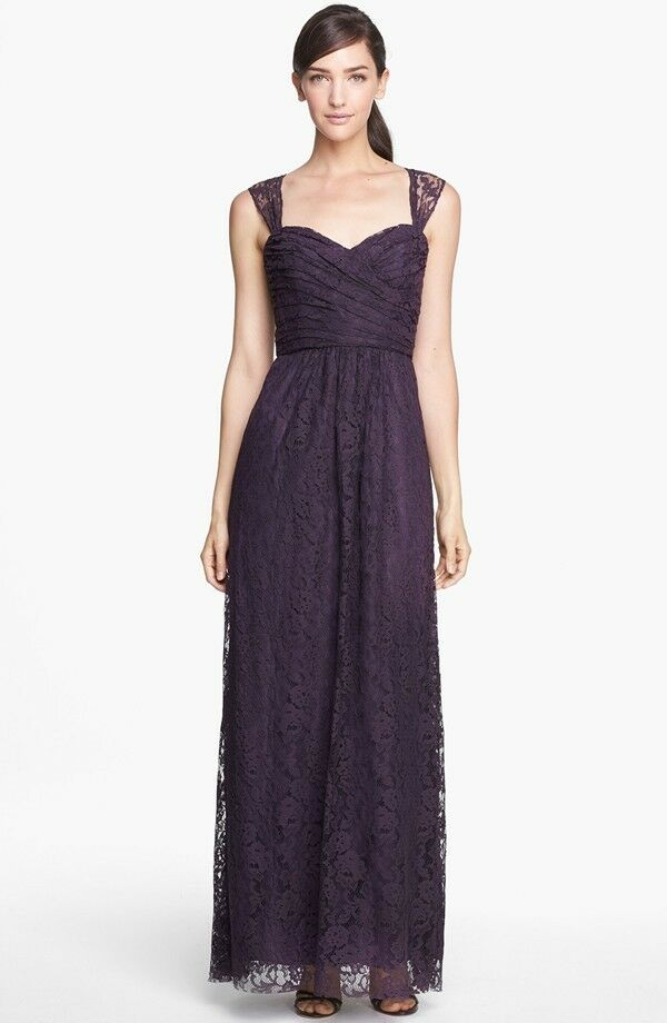 360 amsale pleated lace sweetheart gown raisin wedding bridesmaid