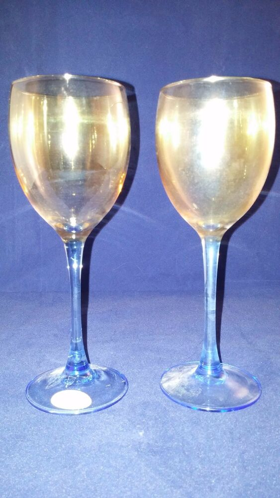 Wine Glass Drink Long Stem Yellow Amber And Blue Drinking