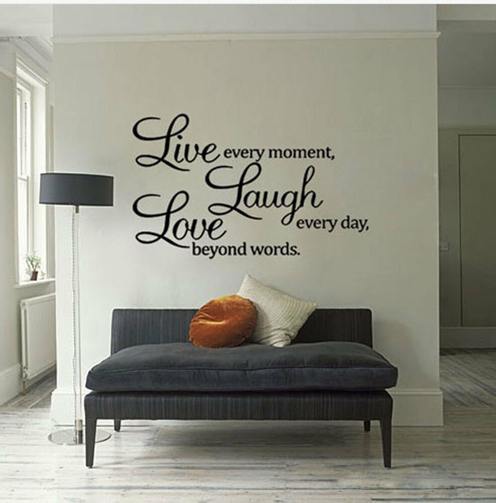 Quote word decal vinyl diy home room decor art wall for Home decor quotes on wall