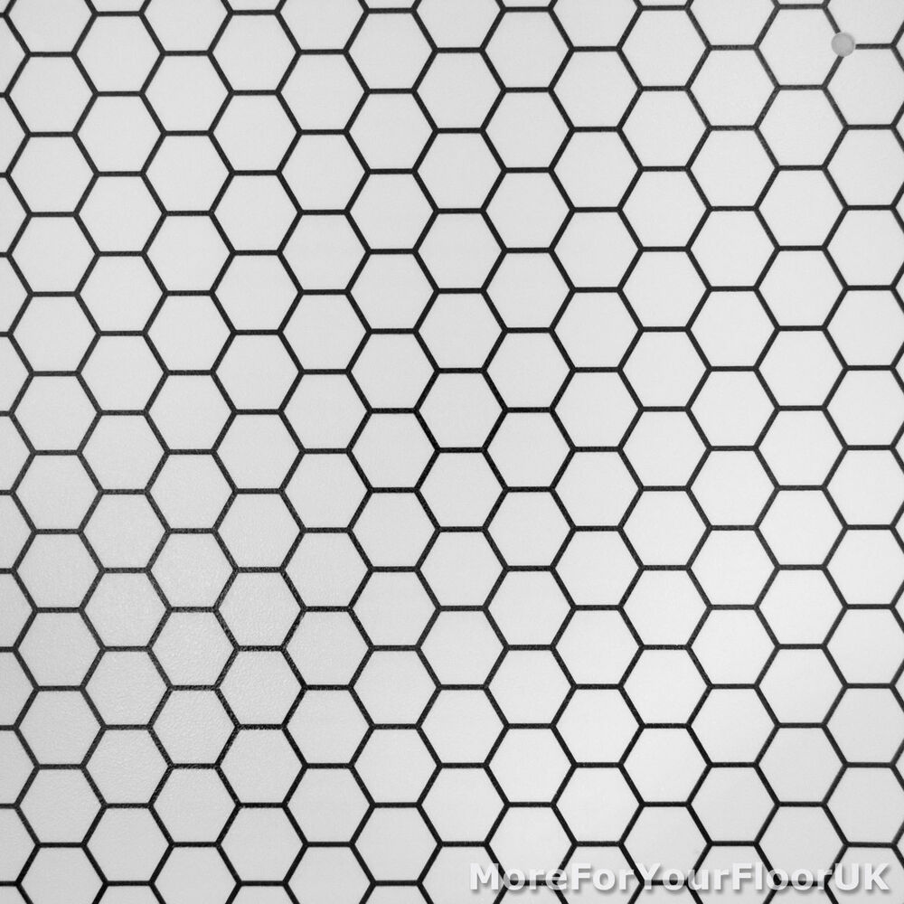 CHEAP Modern Vinyl Flooring, Black u0026 White Hexagon Vinyl, Kitchen Bathroom Hall : eBay