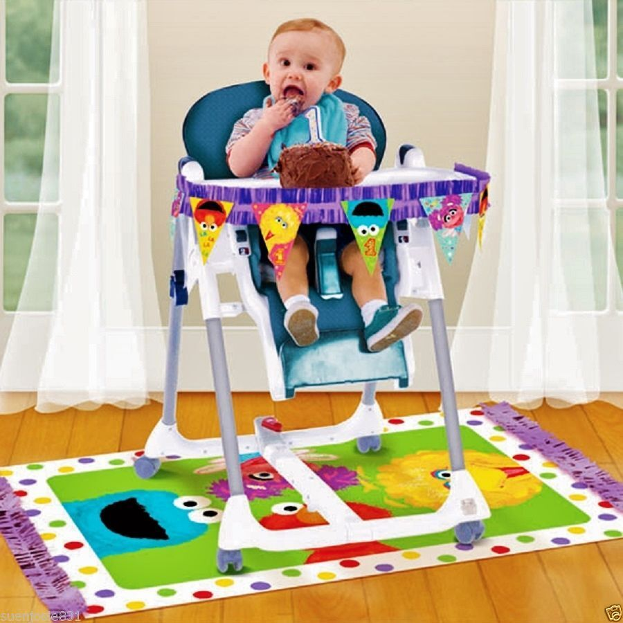 Sesame street 1st birthday highchair decorating kit party for 1st birthday party decoration pictures