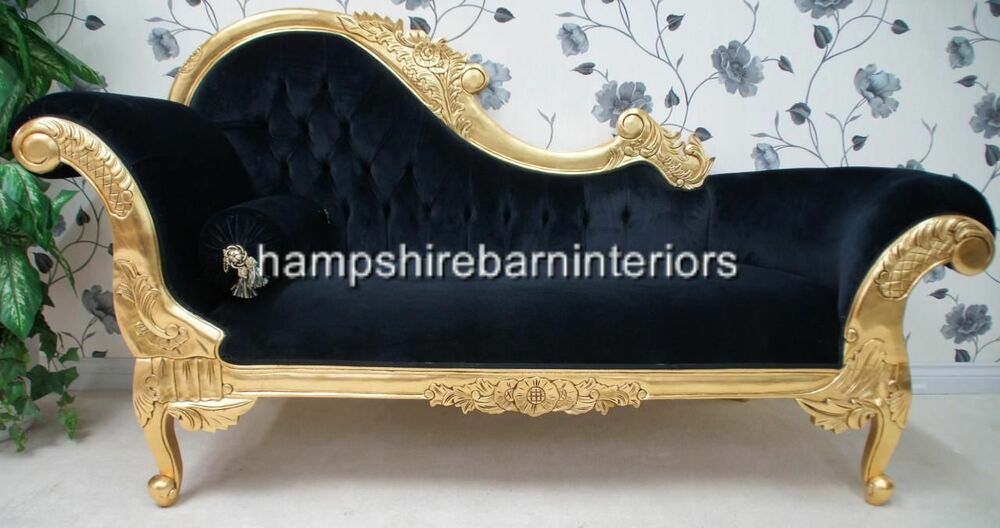 Ornate medium french black velvet chaise longue gold free for Black and gold chaise lounge