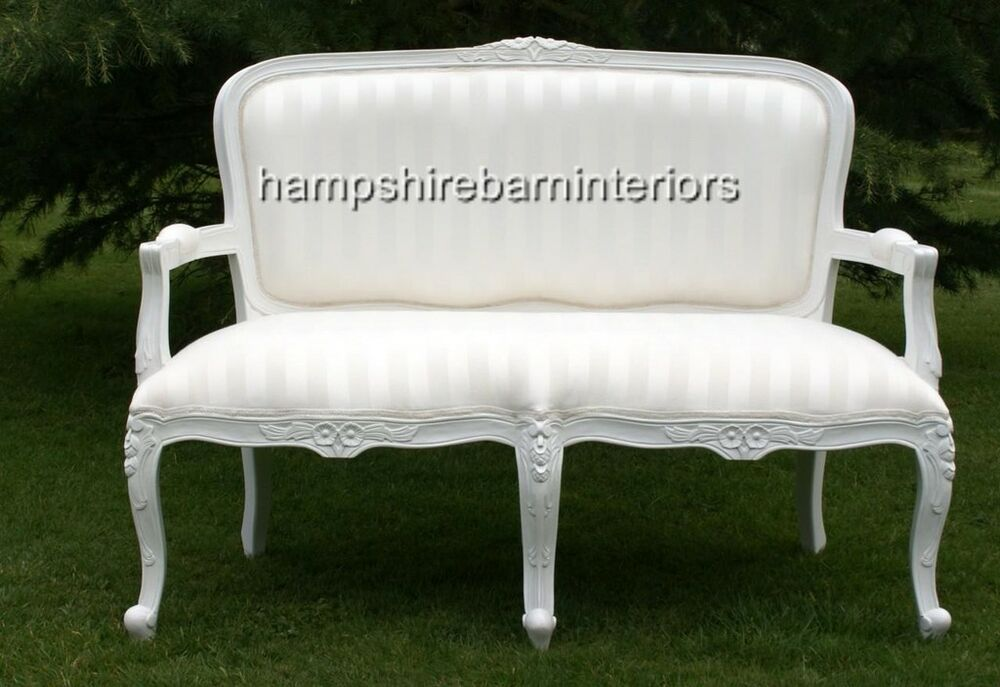 Small ornate white louis sofa double ended chaise longue for Chaise longue salon