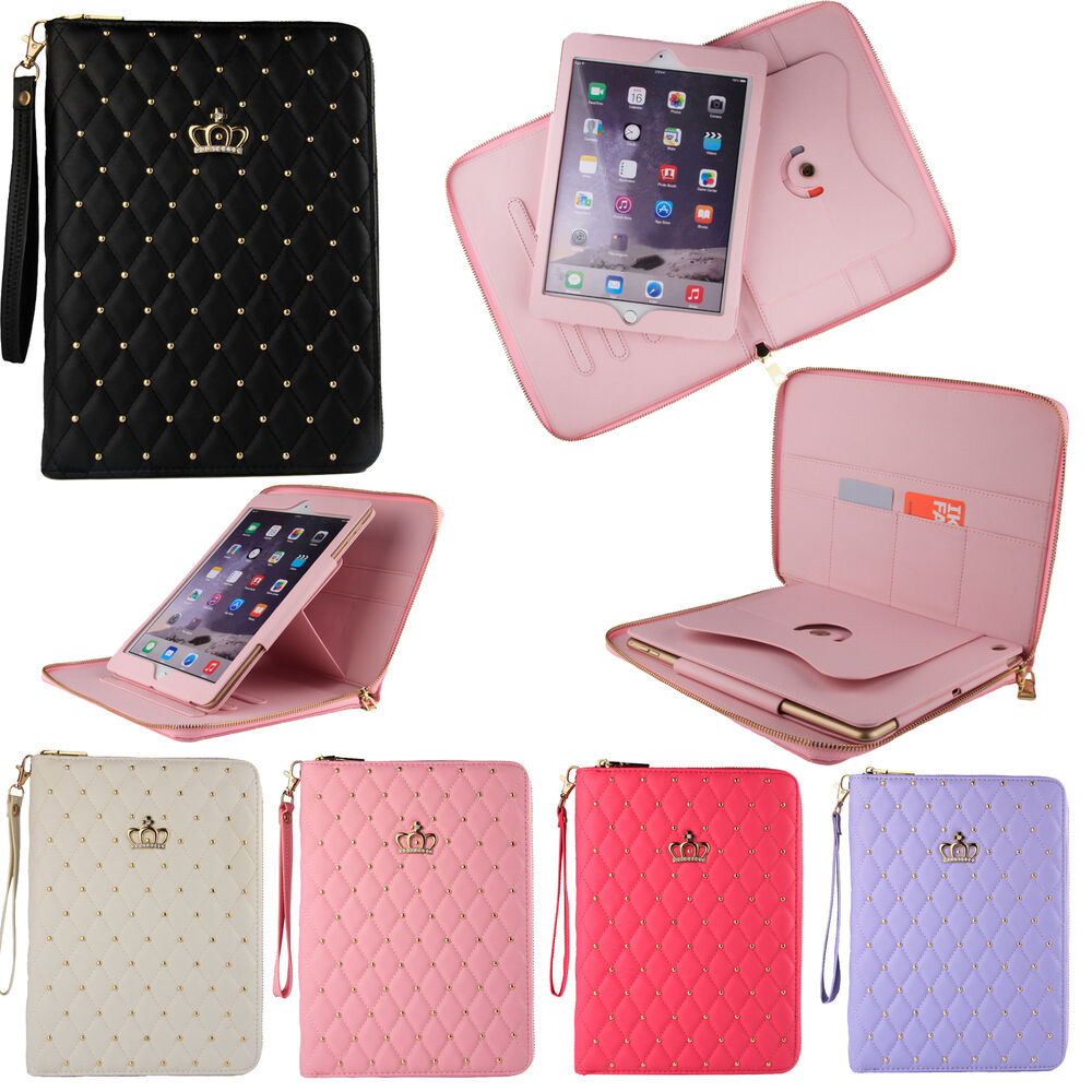 luxury crown leather smart case stand cover for apple ipad. Black Bedroom Furniture Sets. Home Design Ideas