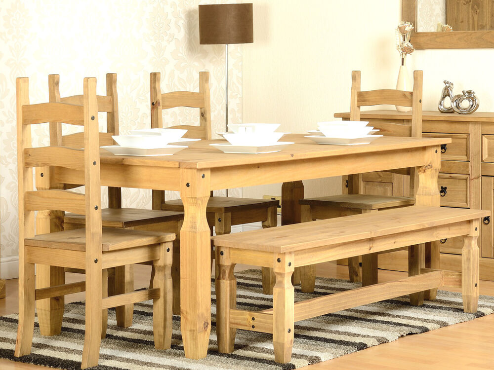Pine Dining Table Set: CORONA 6ft Solid Waxed Pine Dining Table With 4 Chairs And
